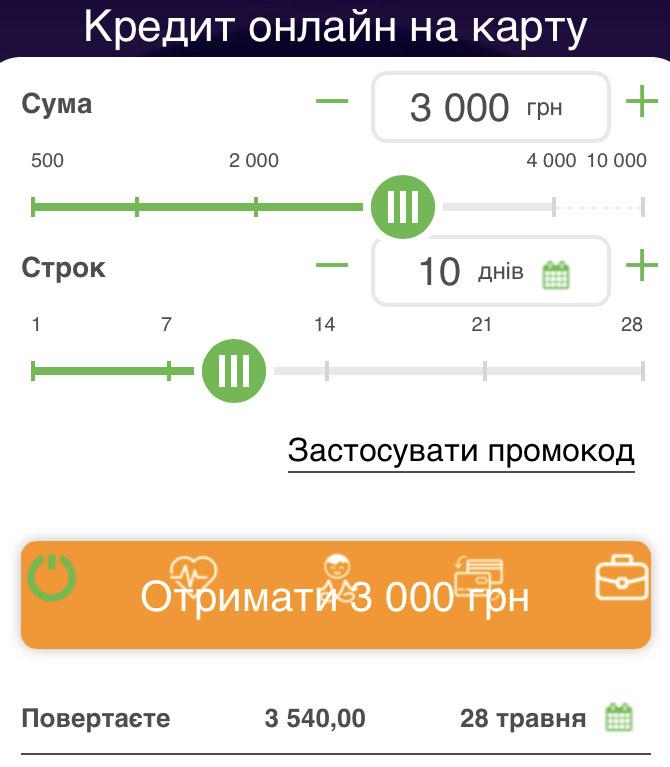 кредитний калькулятор в crediton