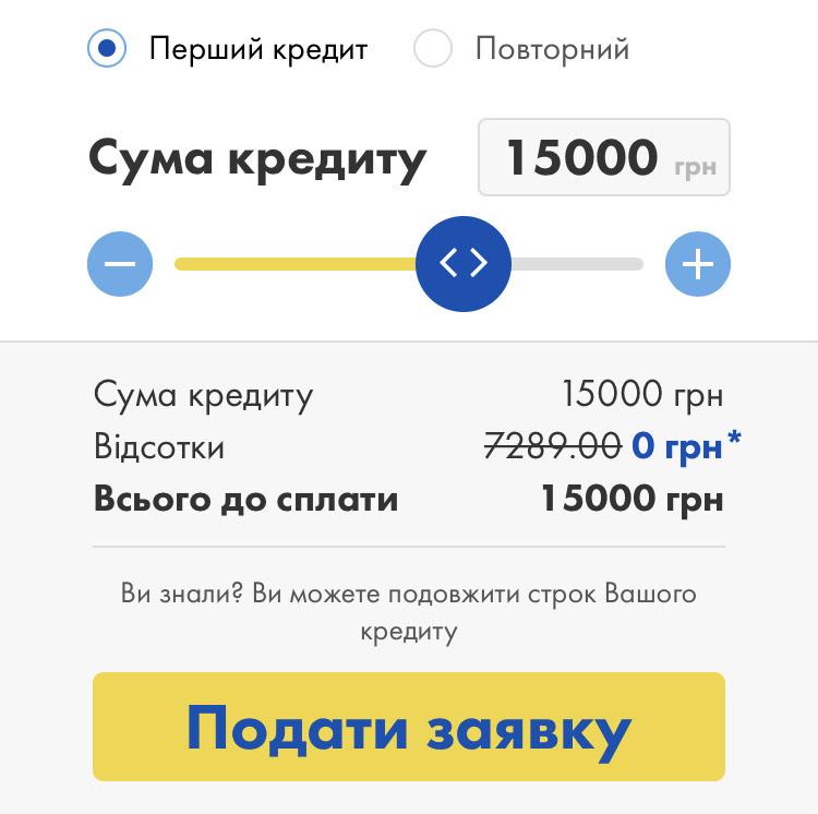 кредит під 0 в УкрПозика